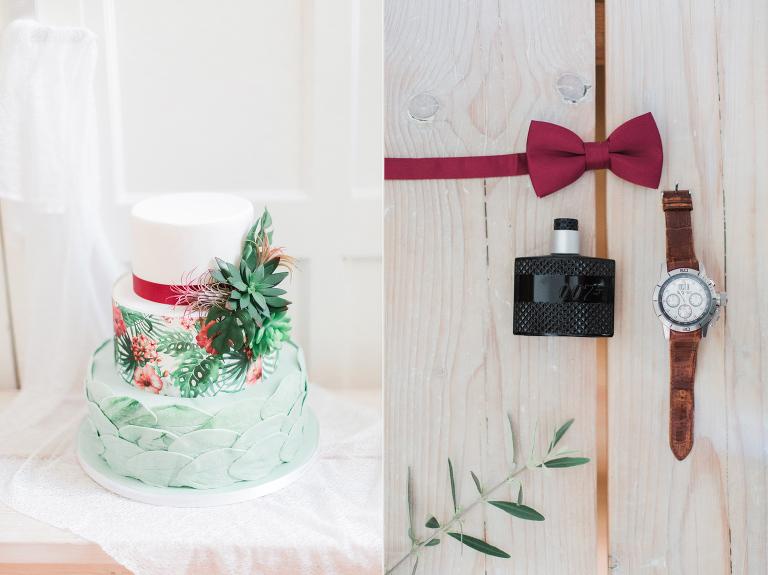 botanische bruiloft bruidstaart flatlay olijftak